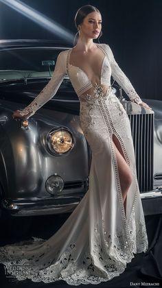 dany mizrachi fall 2018 bridal long sleeves diamond neckline heavily embellished middle slit skirt bodice sexy glamorous sheath wedding dress keyhole back sweep train (12) mv #weddingdress