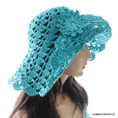 Crochet Sun Hat for sale. Attractive turquoise summer hat. Adorable crochet accessory for women for summer time. Super stylish crochet floppy