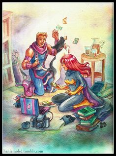 Crossover of the Big Two, with Batgirl and Hawkeye (and Dog XD) enjoying an afternoon of books, card games and iced tea!