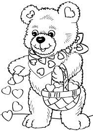 Print Coloring Page And Book Valentines Day Bear For Kids Of All Ages