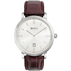 Boss Hugo Boss Men's Tradition Brown Leather Strap Watch 40mm 1513462 (€185) ❤ liked on Polyvore featuring men's fashion, men's jewelry, men's watches, brown, mens white dial watches, mens brown leather watches, mens white face watches and mens watches jewelry