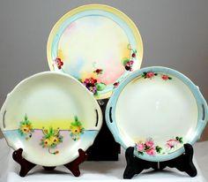 Set Of 3 Vintage Hand Painted Porcelain Floral Decorative Plates