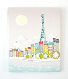 Eiffeltoren Parijs  gestikt op canvas van lauraamiss op Etsy, €70.00