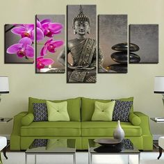 5 Pieces Buddha With Flower Paintings Moth Orchid Stone Candle Wall Art