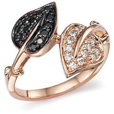 White Diamond and Black Diamond Leaf Wrap Ring in 14K Rose Gold (6.255 BRL) ❤…