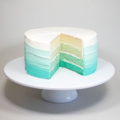 Ombre Fade Cake (Our classic 4-layer vanilla sponge and buttercream icing featuring a beautiful ombré fade in your choice of colour (simply specify colour when ordering))