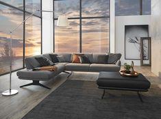 Designsofa in Grau aus Österreich mit klappbaren Rückenlehnen und Sitztiefenverstellung für ein modernes Wohnzimmer Sectional, Decor, Couch, Furniture, Sectional Couch, Home Decor, Home 21