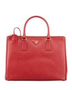 Saffiano Double-Zip Executive Tote Bag, Red (Fuoco) by Prada at Neiman Marcus.