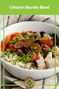Try this easy grilled chicken burrito bowl recipe featuring grapes from California, cilantro, and lime. #chickenburritobowl #chickenburritobowlrecipe #grilled #recipe #easy #bbq #cilantrolime #chicken #burritobowl #burritobowls #burritobowlrecipe #chickenbowl #chickenburritobowls Chicken Burrito Bowl, Chicken Burritos, Grape Recipes, Salad Recipes, California Food, Clean Eating Recipes, Grilled Chicken, Grilling Recipes, Lunch Ideas