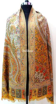 Pashmina Shawl Lambswool shawl Pashmina scarf / Gold by IndiHaat, $78.45