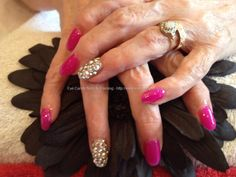 You're never too old!! Acrylic nails with pink gel polish and Swarovski crystals on ring