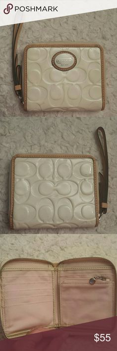 Coach Cream Patent Leather Signature Wristlet Coach Cream Patent Leather Zip Around Wallet /Wristlet, Zippered Closure, 6 Cc Slots, Zippered pocket inside, large pocket inside,, red/Orange marks see pic and scuffs on patent see pics, Sold AS IS still cute Coach Bags Wallets