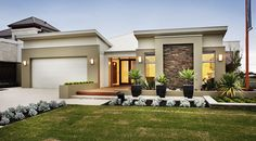Single Story Home Plans, Floor Plans, Home Design. See more about small house plans, contemporary home plans and modern house plans. Flat Roof House, House With Porch, Facade House, House Facades, Home Design, Modern House Design, Plan Design, Design Ideas, House Plans One Story