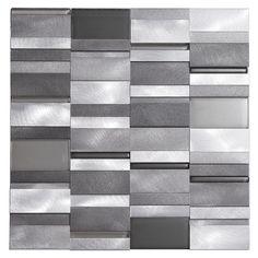 Mineral Tiles - Aluminum Tile Silver Mix Modern Pattern, $28.00 (http://www.mineraltiles.com/aluminum-tile-silver-mix-modern-pattern/)