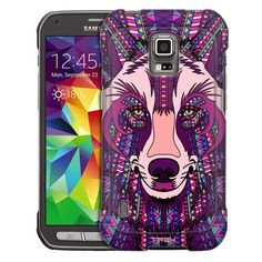 Samsung Galaxy S5 Active Aztec Wolf Head Purple Trans Case