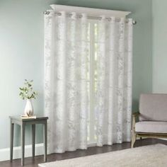 Transform your living space into a tropical retreat with the Madison Park Leilani Grommet Top Window Curtain Panel. The stunning panel combines an intricate burnout palm leaf pattern on a light and airy white sheer fabric for a relaxed and casual look. Window Sheers, White Sheer Curtains, Floral Curtains, Rustic Curtains, Brown Curtains, Elegant Curtains, Vintage Curtains, Yellow Curtains, Farmhouse Curtains