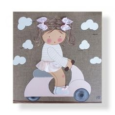 Cuadro infantil infantil personalizado Niña en vespa Diy And Crafts, Crafts For Kids, Arts And Crafts, Japanese Quilts, Crafts With Pictures, Sewing Appliques, Book Quilt, Applique Quilts, Box Frames