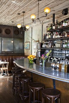 Five Leaves | Brooklyn . . . love the zinc metal bar top and the reclaimed wood ceiling.