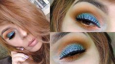 Tutorial de Maquiagem Fácil - Olho Com Glitter Azul e Esfumado Laranja #maquiagem #glitter #glitterazul #azul #laranja #tutorial #passoapasso #tutorialdemaquiagem #glitterazul #esfumado #esfumadolaranja #mar #oceano #blue #orange