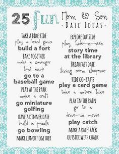 Fun ideas for parent-kid dates: mom-son, dad-daughter, mom-daughter, dad-son. Mommy And Son, Mom Son, Mother Son, Kids And Parenting, Parenting Hacks, Parenting Ideas, Kid Dates, Raising Boys, Dating Humor
