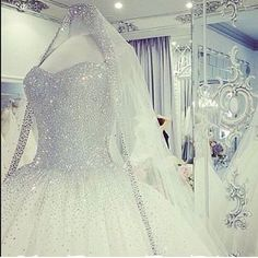Princess wedding dress with tons of crystal embellishments