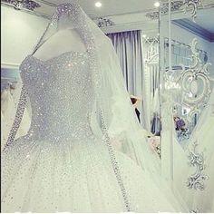 Princess wedding dress with tons of crystal embellishments