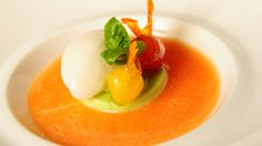 GAZPACHO CHARENTAIS MELON Caramelized tomatoes and a basil panna cotta with a sorbet of verjus l Arola Restaurant | W Paris - Opéra