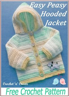 Simple, easy month baby hooded jacket, get the FREE baby crochet pattern on crochetncreate. Crochet Baby Cardigan Free Pattern, Crochet Baby Jacket, Crochet Baby Sweaters, Baby Sweater Patterns, Knit Baby Dress, Baby Patterns, Baby Knitting Patterns, Skirt Patterns, Coat Patterns