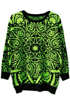 ROMWE | Baroque Retro Totem Fluorescent-green Jumper, The Latest Street Fashion