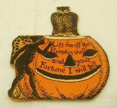 Halloween Fortune Card Pumpkin Owl 1911