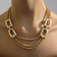 '80s Diamante In Chains Necklace