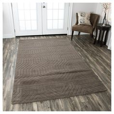 Rizzy Home Technique Collection Hand-Loomed 100% Wool Area Rug, Soft Taupe, Durable