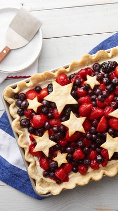 This refreshing red white and blue berry slab pie topped with pie crust stars is sure to be a hit at any summer holiday celebration. And it's SO easy there's nothing stopping you from celebrating every day like it's the 4th of July!