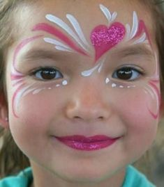 """Cute, yet still simple. Pretty, quick heart """"mask"""" #facepainting"""