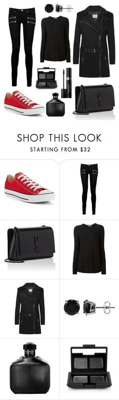 """""""Untitled #278"""" by elizabeth-buttery ❤ liked on Polyvore featuring Converse, Paige Denim, Yves Saint Laurent, T By Alexander Wang, Pierre Balmain, BERRICLE, John Varvatos, NARS Cosmetics and Christian Dior"""
