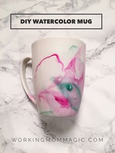 DIY Watercolor Mug: You can make this for only $1 and these tips make it easy to create! (this is NOT a Pinterest fail!) ;)