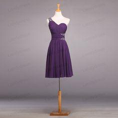 Bridesmaid Dress Short Bridesmaid Dress Purple by LandyDress