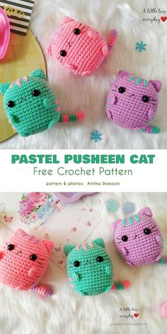 Pastel Pusheen Cat Free Crochet Pattern  These ami pusheens are a cuddly way for your kids to always have Pusheen with them, because they are pocket-(and tiny hand)- sized and can be made in a myriad colors to match the tastes of the discerning fan.