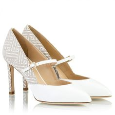 Parlanti - White & beige intrecciato effect patent leather Mary-Jane... ($165) ❤ liked on Polyvore featuring shoes, pumps, white patent leather pumps, white pointed-toe pumps, white pumps, pointed-toe pumps and mary jane pumps