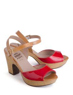 Sandalias charol rojo-cuero