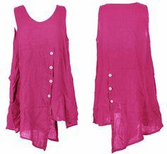 Italian Lagenlook Quirky Sleeveless Button Front Back Pocket LINEN Tunic Dress | eBay