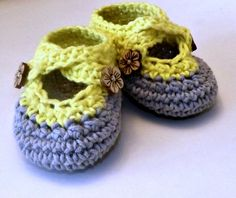 Crochet two strap baby booties