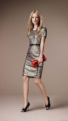 EVENINGWEAR:: DRESSES: BURBERRY LONDON Sequin Stripe Shift Dress | Burberry @Burberry     ~~  I love this for an evening event.