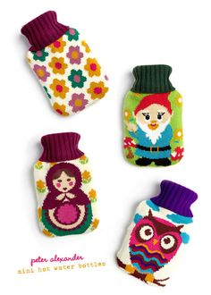 Hot water bottles that portray the feeling of grandma's hand nit sweaters, and have warm friendly illustrations on each. These are representing warmth in every way, embodying the suggested use.