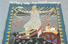 Lauritz.com - Eldre billedkunst - Billedvev etter kartong av Gerhard Munthe: Slaget ved Hjørungavaag - NO, Oslo, Sannergata 3