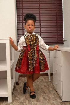 Ankara Kiddie Dress/ African Inspired/ Girls Dress/ Quality fabric/ Good Finishing/ Made In Nigeria/ African Kid Baby African Clothes, African Dresses For Kids, African Children, Latest African Fashion Dresses, African Print Fashion, Africa Fashion, African Wear, African Attire, Girls Dresses