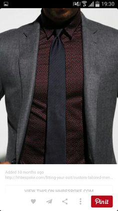 Charcoal Suit Maroon Shirt
