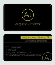 Tarjeta personal para cliente. Augusto  Jiménez, Decoración de interiores y obra blanca.