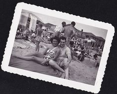 Antique Photograph Sexy Man & Woman in Bathing Suits Sitting on Crowded Beach