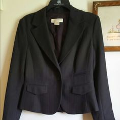 """Michael Kors Jacket Beautifully tailored MK jacket in a rich dark brown. It has a tonal woven stripe. 21"""" shoulder to hem,  24-1/2"""" sleeves,  and 16"""" waist laid flat. Poly/spandex with acetate lining. Like new condition. I don't trade, but welcome reasonable offers. Thanks for shopping. Michael Kors Jackets & Coats"""